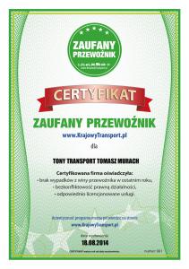 Certyfikat Tomasz Murach